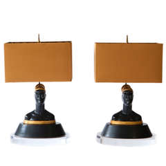 Pair of Egyptian Revival Nubian Women Lamps