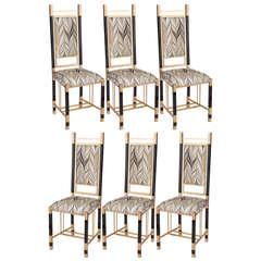 Set of Six 1970s Dining Chairs by Antonio Pavia