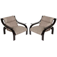 Pair of Woodline Lounge Chairs by Marco Zanuso for Arflex