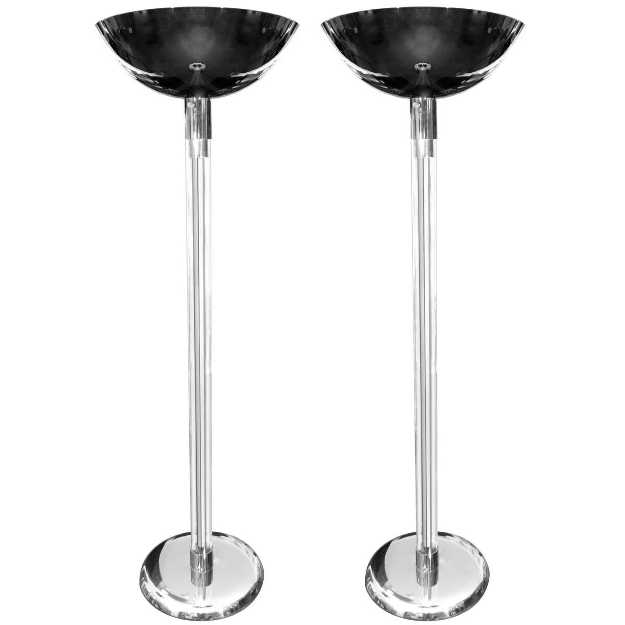 Pair of Lucite and Polished Gunmetal Torchieres by Karl Springer, circa 1970s