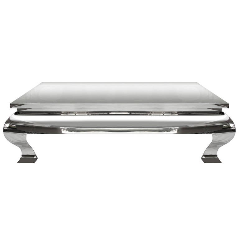 1970s Polished Stainless Steel Coffee Table In The Style Of Karl Springer For Sale At 1stdibs