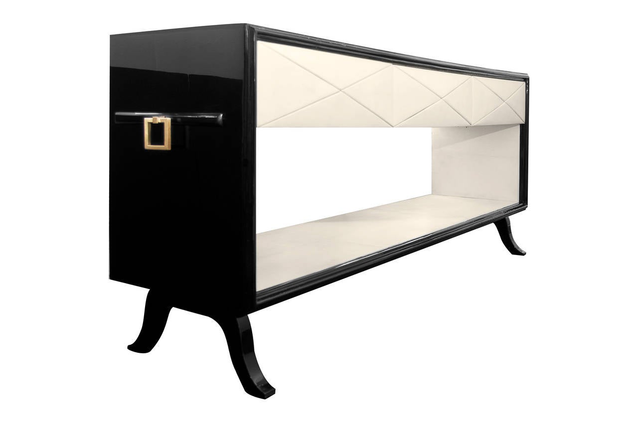 Black lacquer and parchment console table at 1stdibs for Table 52 art smith