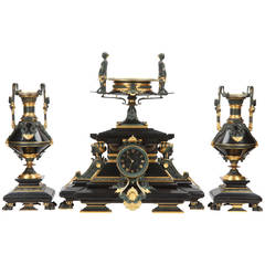 Egyptian Revival Antique Bronze Clock Garniture by Tiffany & Co c. 1880