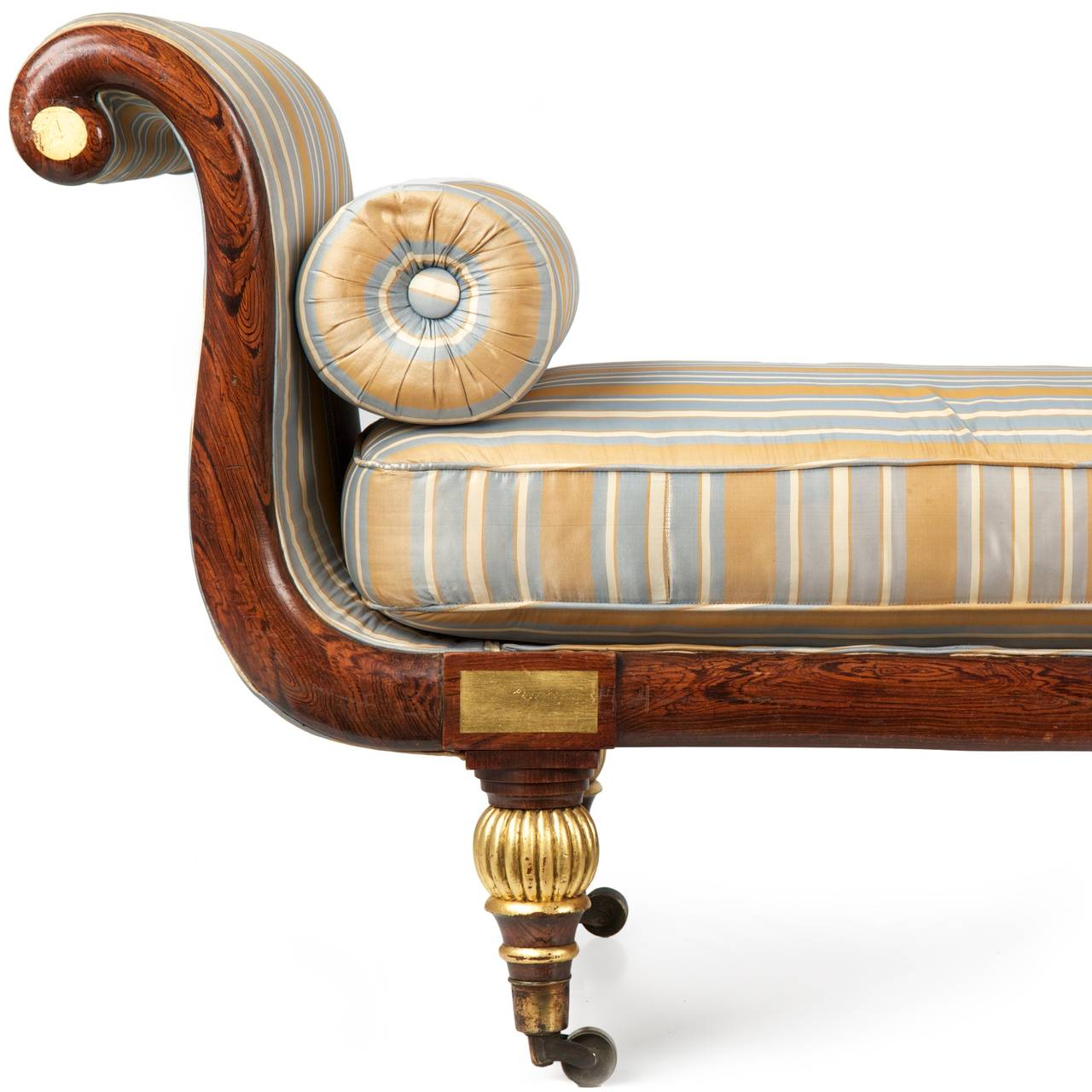 A fine work from the first quarter of the nineteenth century, this antique  Regency Period - Regency Faux Rosewood Antique Recamier Chaise Lounge C. 1825 At
