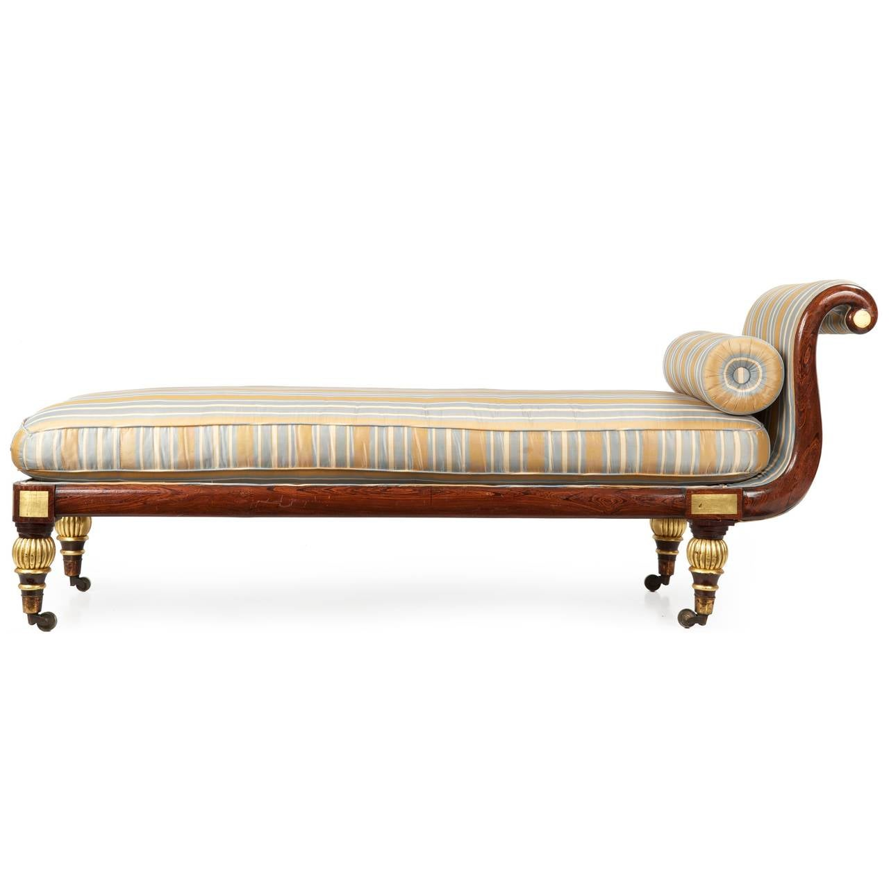 Regency faux rosewood antique recamier chaise lounge c for Antique chaise lounges