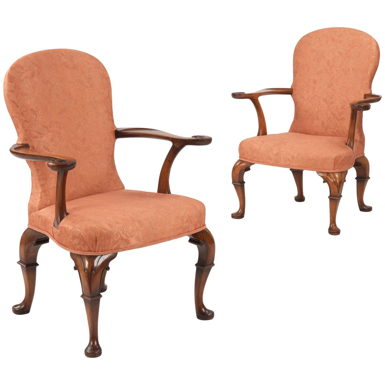 Pair of English George II Style Antique Arm Chairs w/ Eagle Carvings 1 - Pair Of English George II Style Antique Arm Chairs W/ Eagle