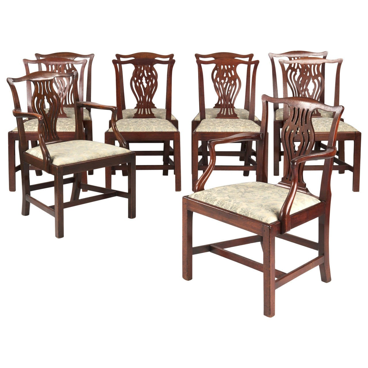 Antique Chippendale Dining Room Furniture: Set Of Ten English Chippendale Antique Mahogany Dining