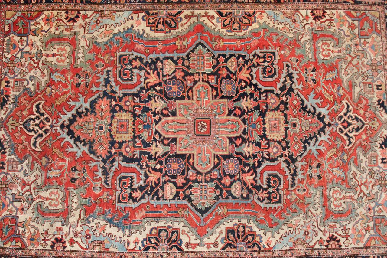 This Is A Fine And Large Antique Heriz Rug With Wonderful Color Palette Very