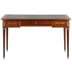 French Louis XVI Style Antique Bureau Plat Writing Desk c. 1920-40