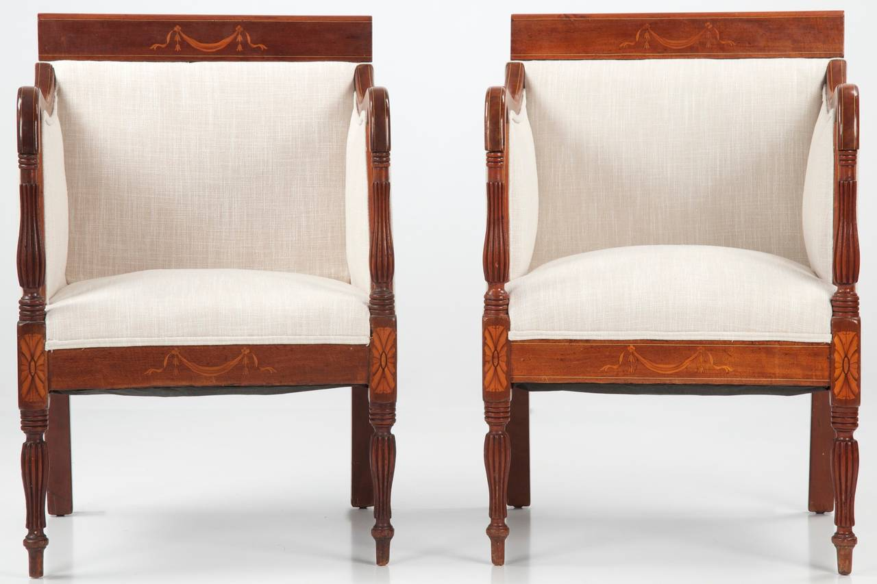 19th Century Pair Of Sheraton Style Mahogany Antique Arm Chairs Image 2