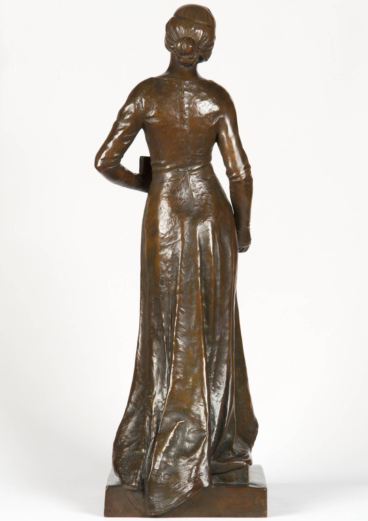 Patinated Henri Levasseur Antique French Bronze Sculpture of Maiden with Rosary, 1900