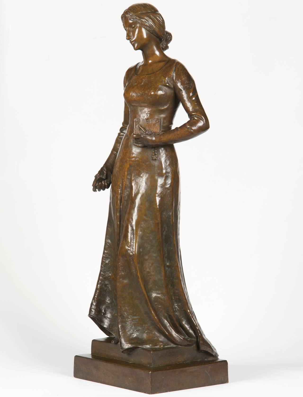 Henri Levasseur Antique French Bronze Sculpture of Maiden with Rosary, 1900 1