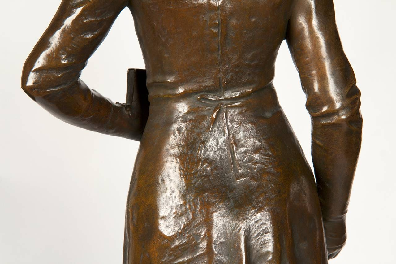 Henri Levasseur Antique French Bronze Sculpture of Maiden with Rosary, 1900 3