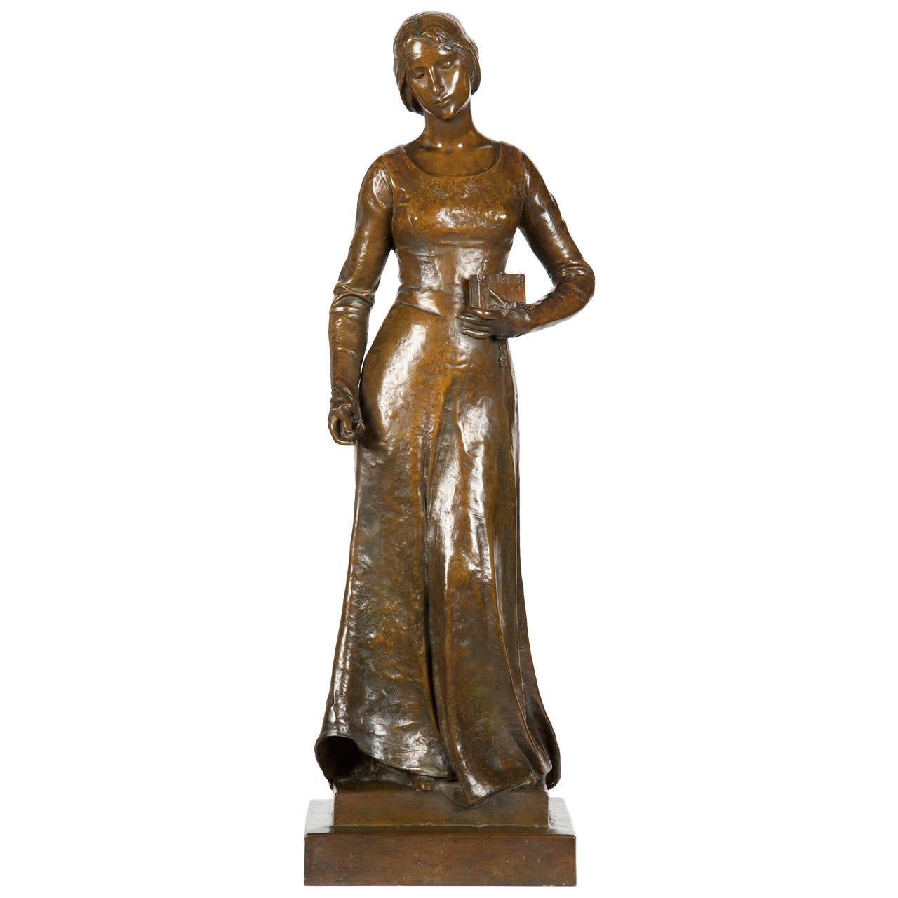 Henri Levasseur Antique French Bronze Sculpture of Maiden with Rosary, 1900