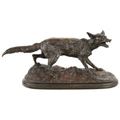 Rare and Fine Bronze Sculpture of a Standing Fox, Pierre Mené, Mid-19th Century