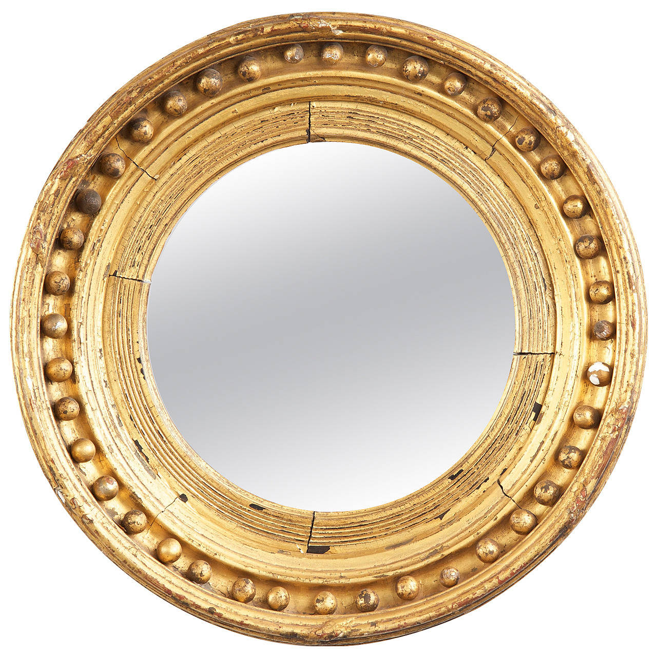 American federal giltwood convex antique mirror early for Convex mirror