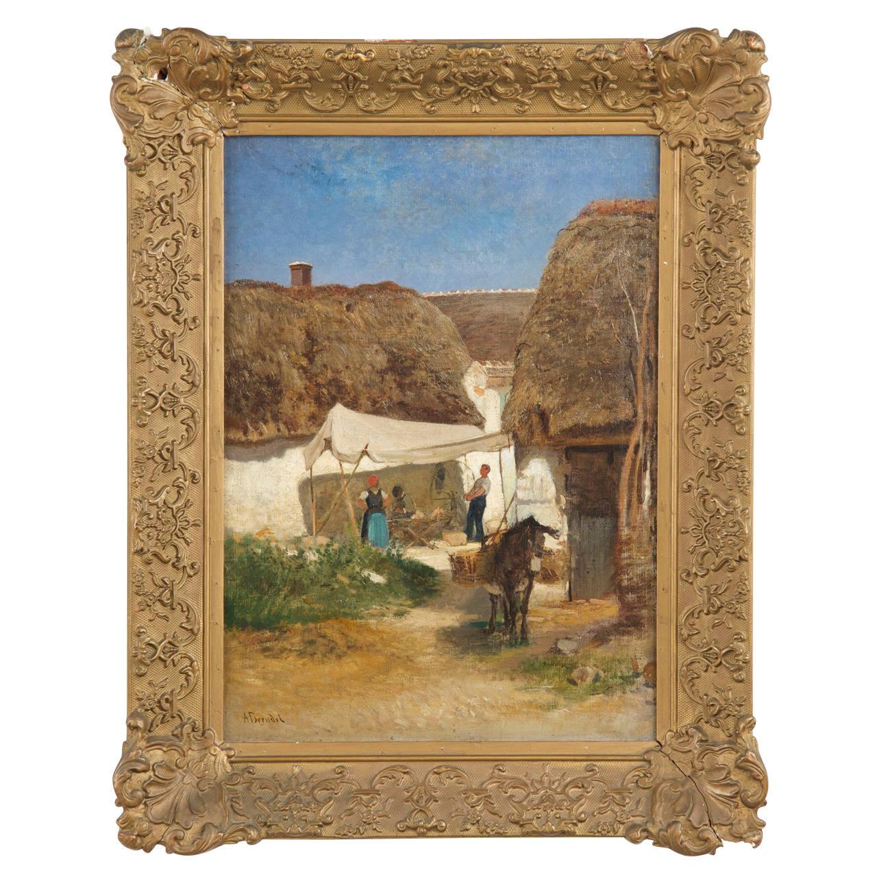 German Antique Oil Painting of Rural Village by Albert Brendel, 19th Century