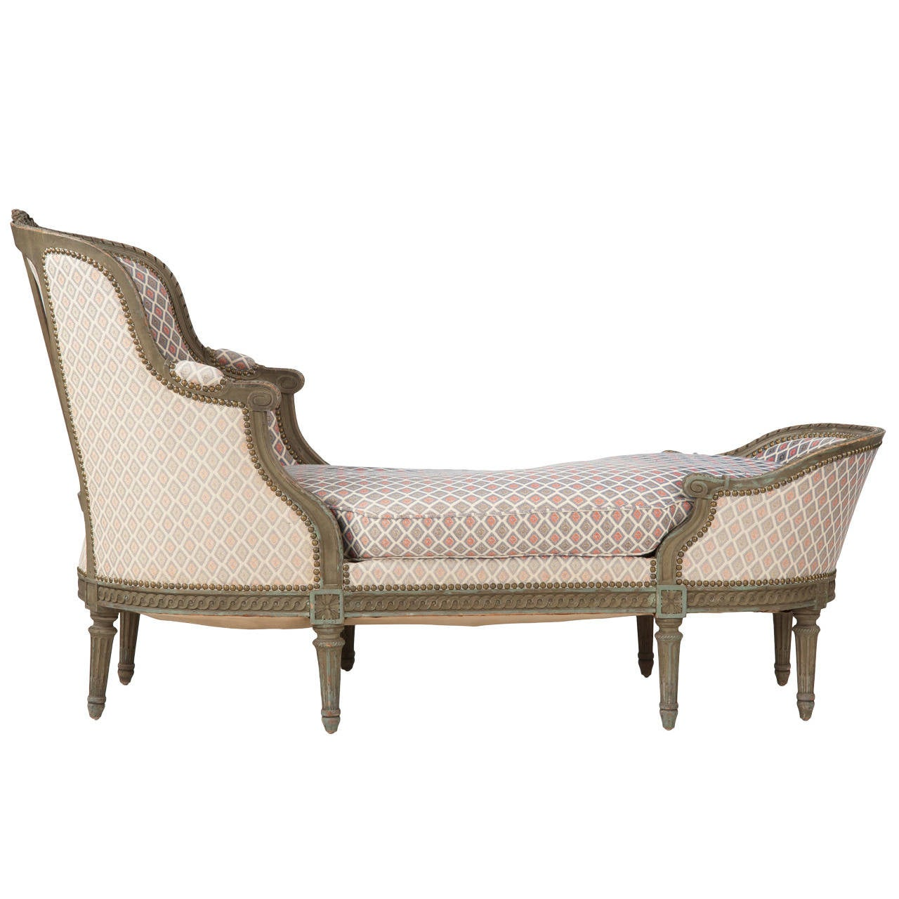 French louis xvi style painted antique chaise lounge for Antique chaise lounge furniture