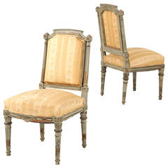 French Louis XVI Style Gray Painted Antique Side Chairs, 19th Century