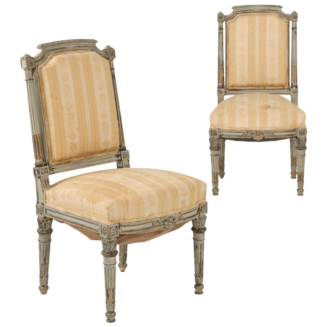 Pair of Antique French Louis XVI Style Gray Painted Side Chairs, 19th  Century 1 - Pair Of Antique French Louis XVI Style Gray Painted Side Chairs