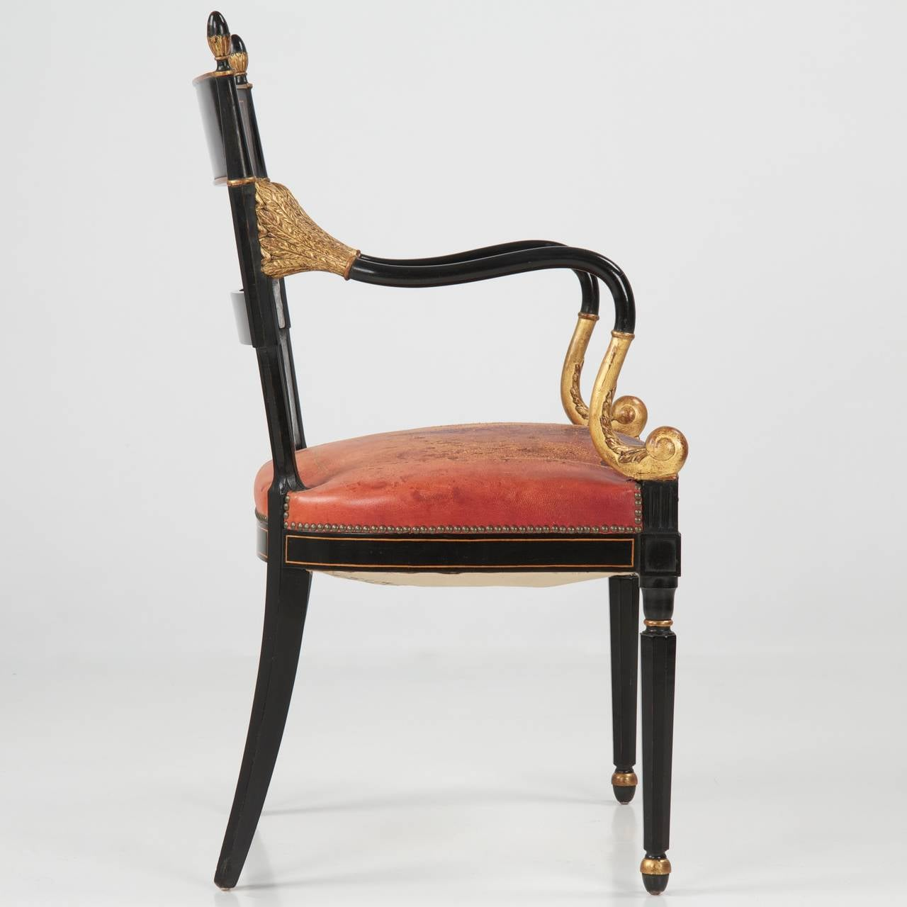Regency Style Lacquered And Parcel Gilt Leather Arm Chair 20th Century At 1s