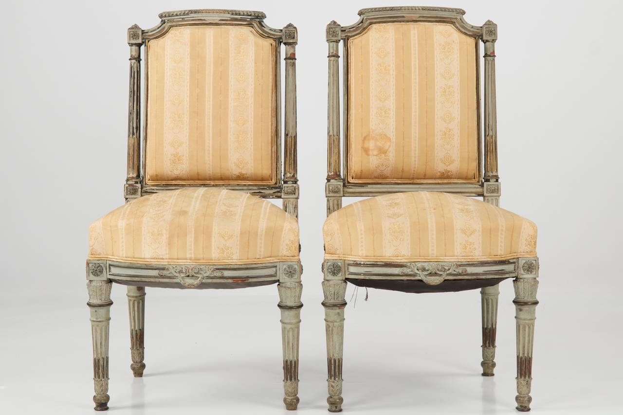 Antique louis xvi chair - Pair Of Gray Painted Antique Louis Xvi Side Chairs 19th Century 2