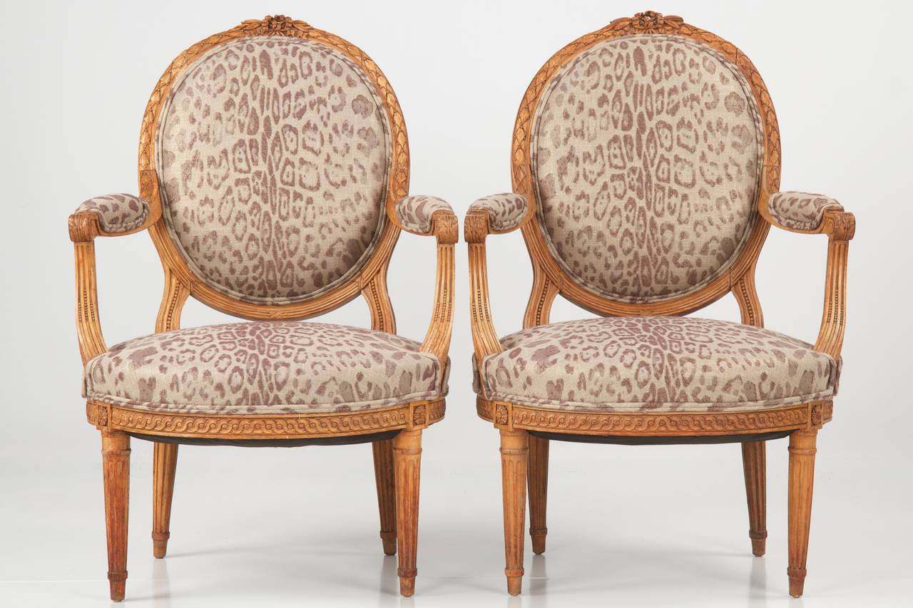 Pair Of French Louis Xvi Style Carved Antique Arm Chairs 19th & 19th Century Chair Styles | New House Designs