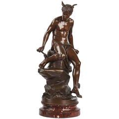 Eutrope Bouret Antique Bronze Sculpture of Mercury