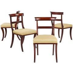 19th Century Set of Four English Regency Antique Dining Chairs, circa 1810-20