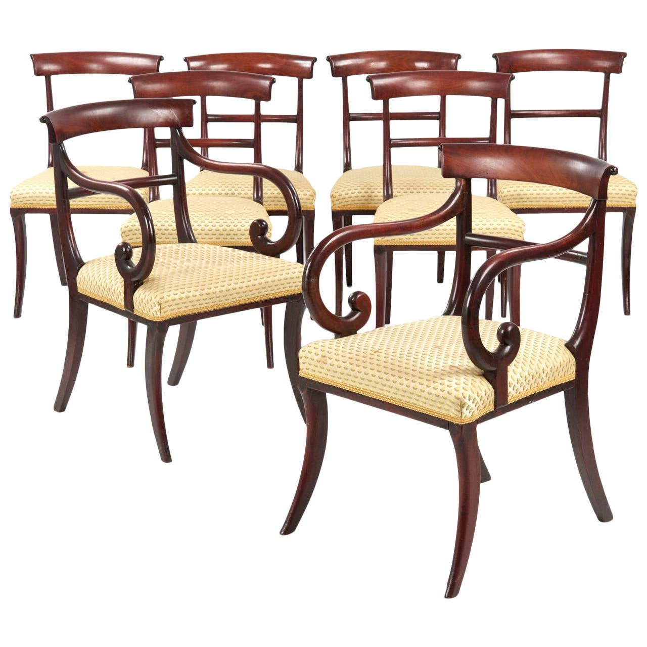 Eight 19th Century English Regency Antique Dining Chairs, circa ...