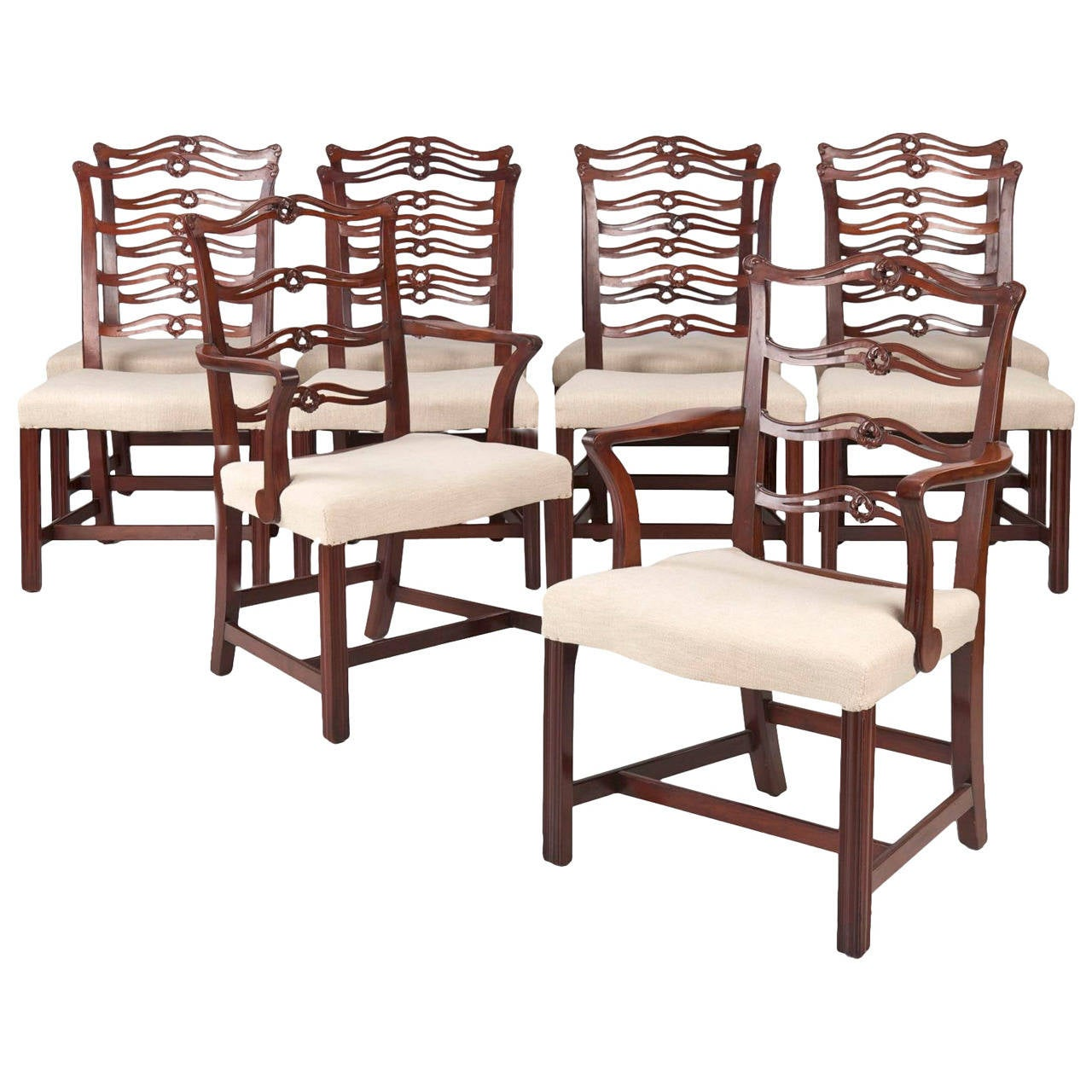 Chippendale Dining Room Chairs: Set Of Ten Chippendale Style Antique Mahogany Dining