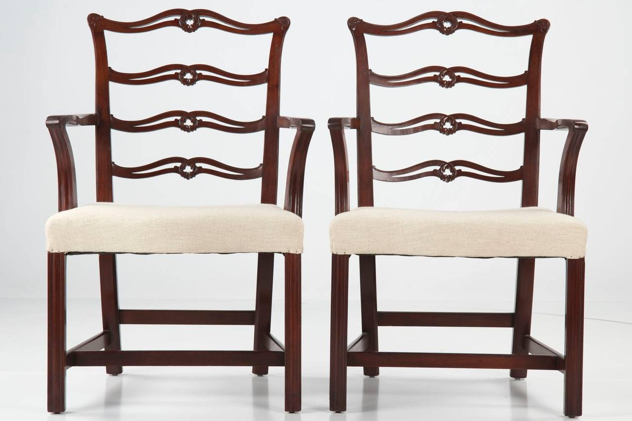 SET OF TEN CHIPPENDALE STYLE MAHOGANY DINING CHAIRS, Early to Mid 20th  Century Item # - Set Of Ten Chippendale Style Antique Mahogany Dining Chairs, 20th