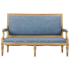 19th Century French Louis XVI Style, Antique Gilt Settee Canape