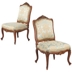 Pair of French Rococo Revival Antique Walnut Side Chairs, 19th Century