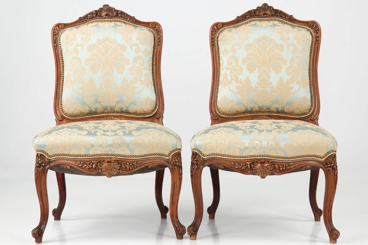 Pair of french rococo revival antique walnut side chairs for French rococo furniture