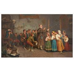 """A. Secola Antique Oil Painting """"Arithmetic Lesson"""""""
