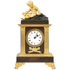 19th Century French Empire Antique Bronze Mantel Clock by Caranda, Paris