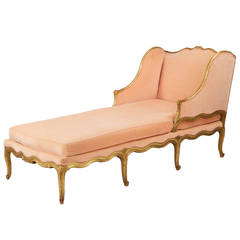 French Louis XV Style Giltwood Antique Chaise Longue Lounge Settee, 19th Century