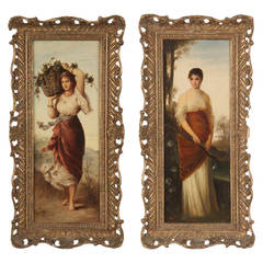 Pair of Oil Paintings of Classical Maidens by Lady Alma-Tadema, 19th Century