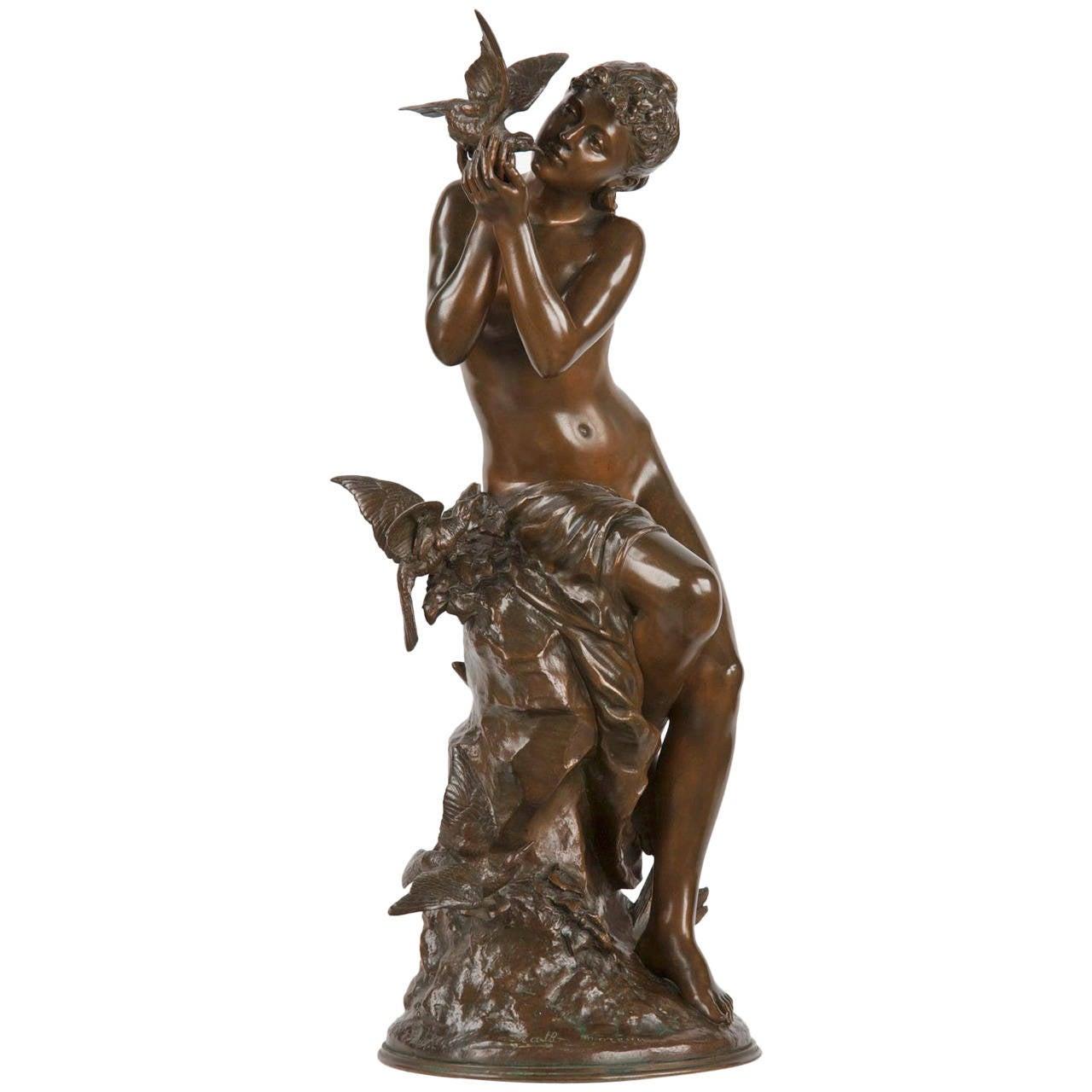 mathurin moreau art nouveau bronze sculpture of seated maiden susse freres at 1stdibs. Black Bedroom Furniture Sets. Home Design Ideas