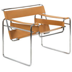 """""""Wassily"""" Style Chrome and Leather Lounge Chair after Marcel Breuer"""