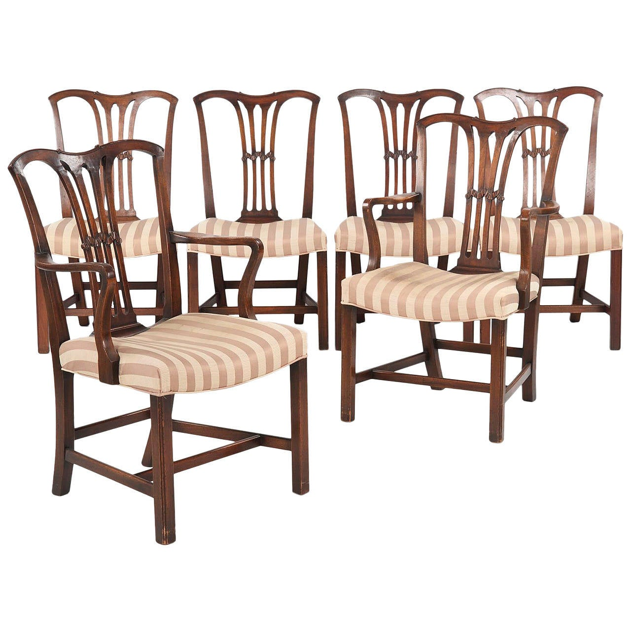 Set of six chippendale style antique dining chairs 19th for Antique dining room furniture
