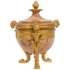 French Gilt Bronze and Marble Antique Garniture Urn, 19th Century