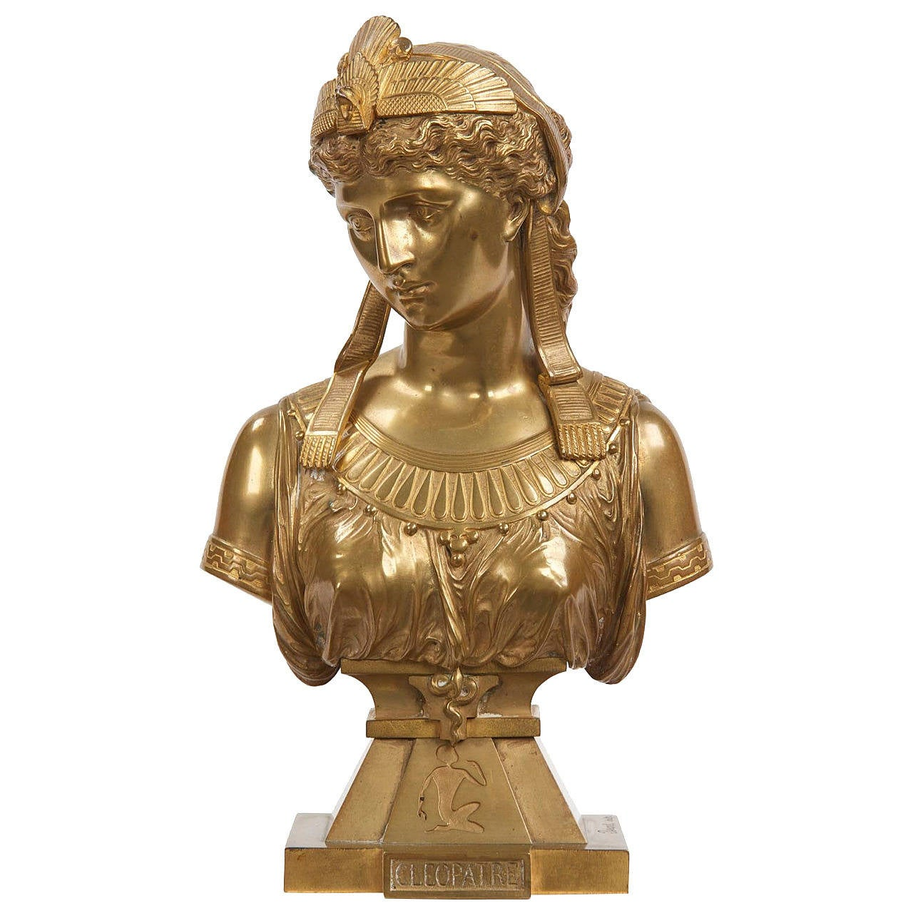 Egyptian revival gilt bronze sculpture of cleopatra by - Bronze sculptures for sale ...