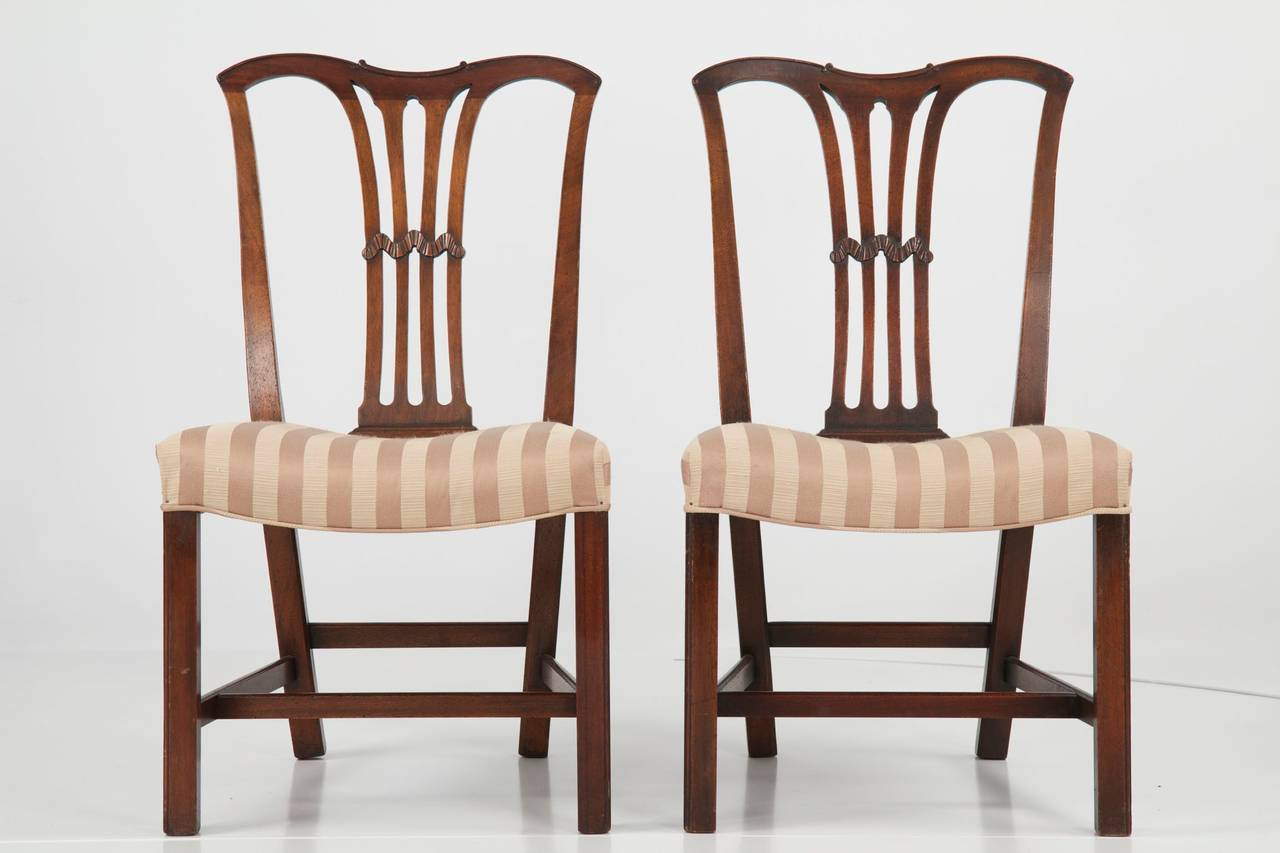 Set Of Six Chippendale Style Antique Dining Chairs, 19th
