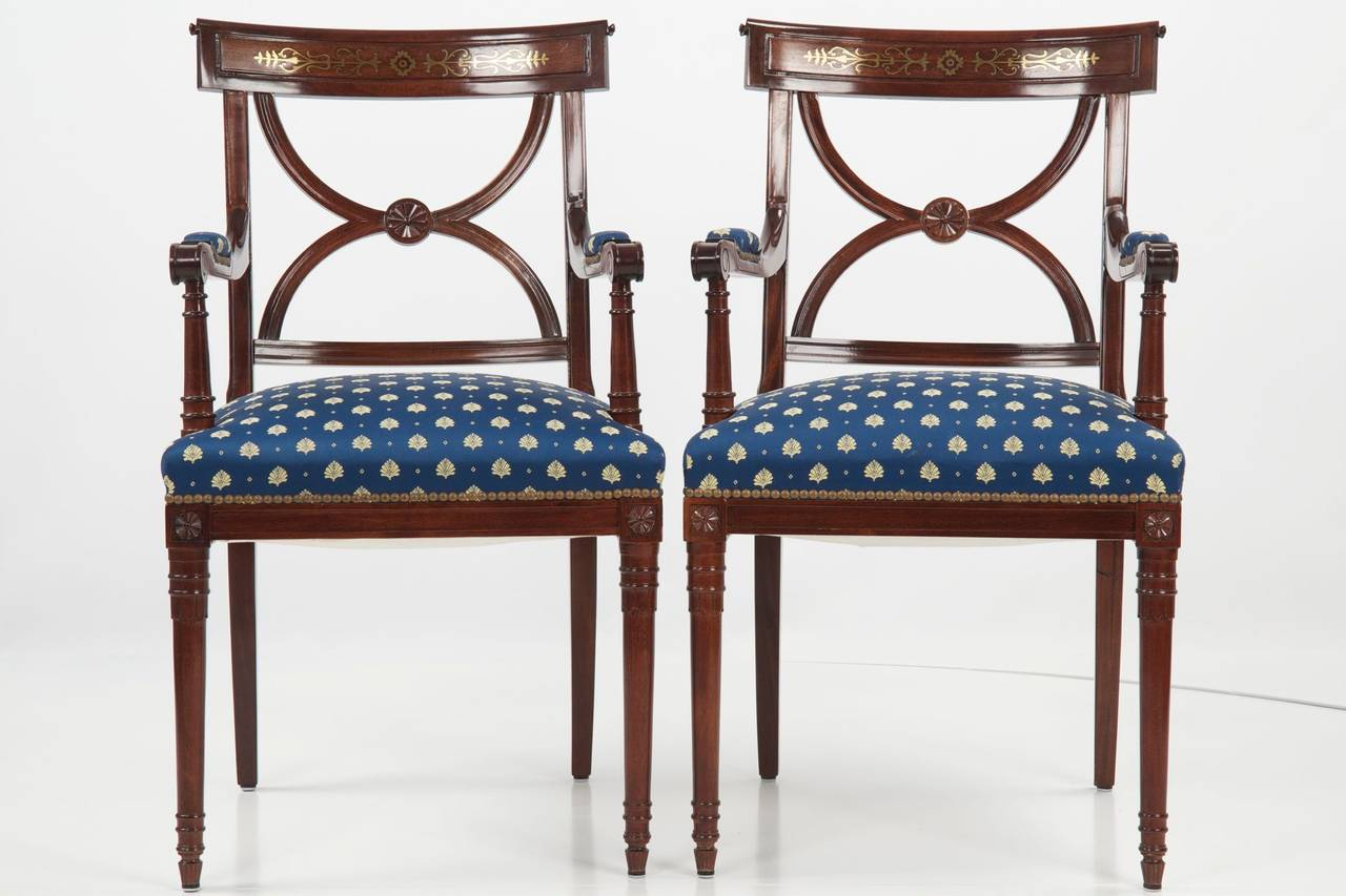 Set Of Ten Regency Style Brass Inlaid Mahogany Dining Chairs, 20th Century 2