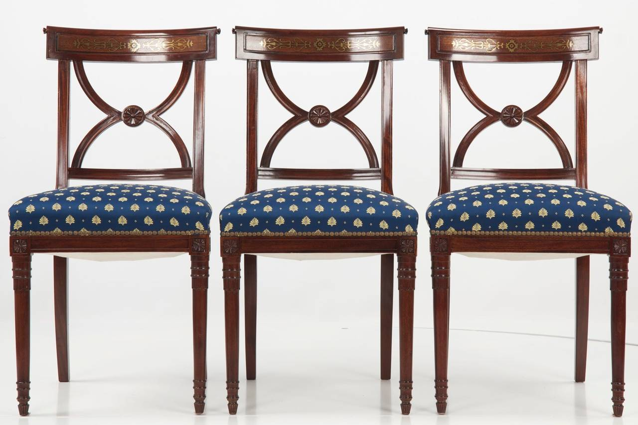 Set Of Ten Regency Style Brass Inlaid Mahogany Dining Chairs 20th Century At
