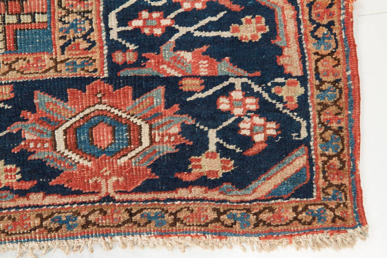 Worn Authentic Antique Heriz Persian Rug, circa 1900 at 1stdibs