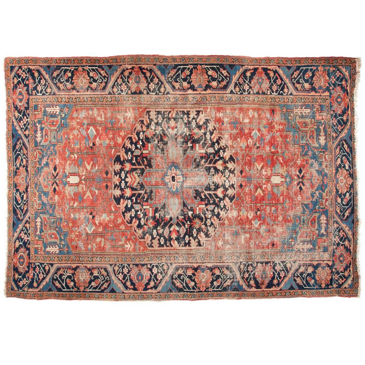 Worn Authentic Antique Heriz Persian Rug Circa 1900 At