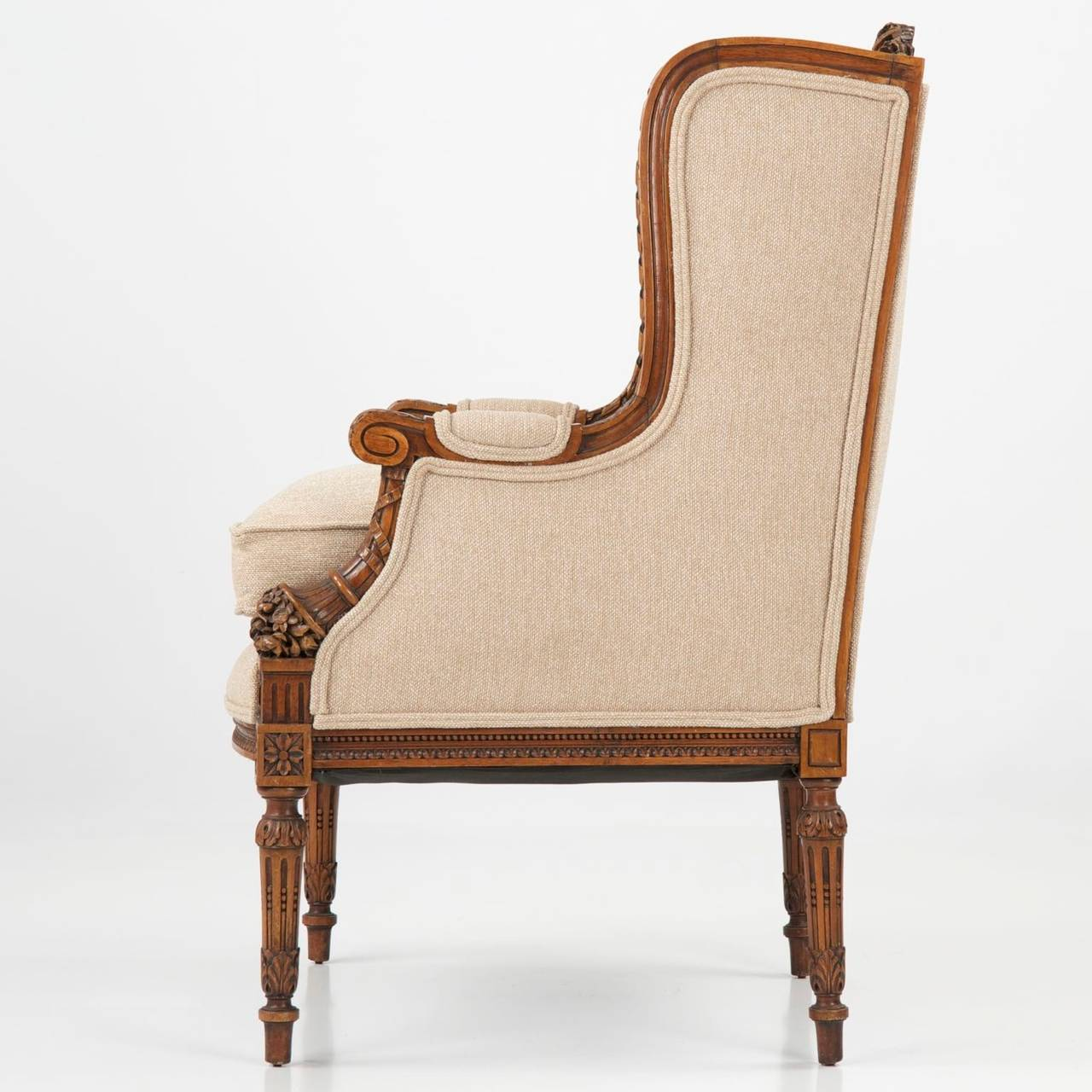 French Carved Mahogany Antique Wingback Armchair, 19th ...
